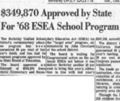 $349,870 Approved by State For '68 ESEA School Program Here