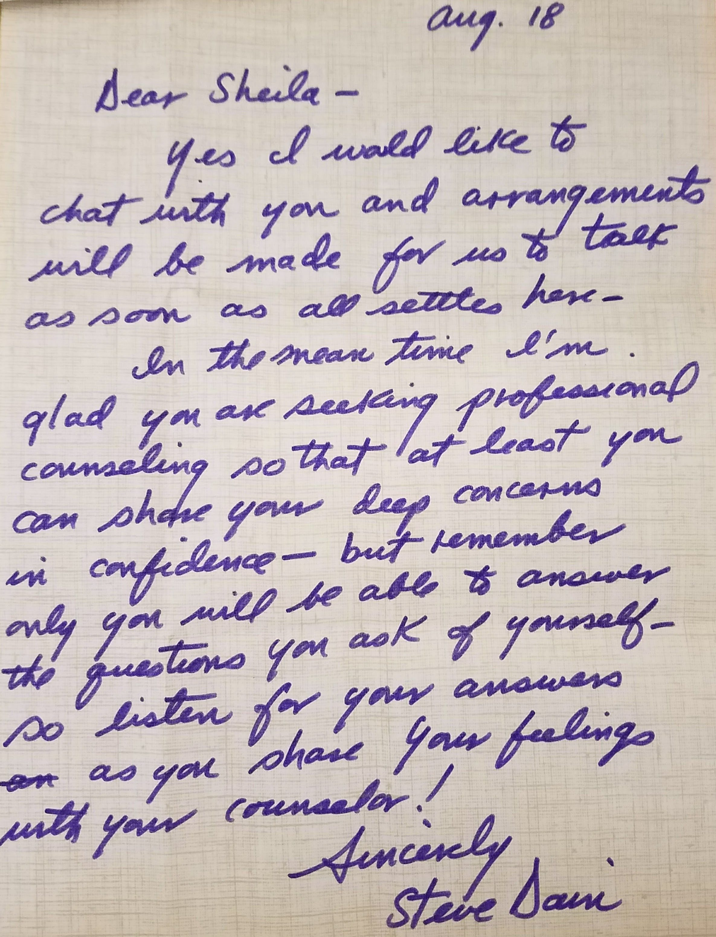 A Letter From Steve to Lou