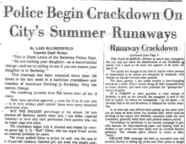 Police Begin Crackdown on City's Summer Runaways