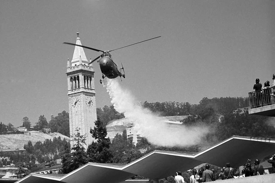 Helicopter Drops Tear Gas on Sproul Plaza