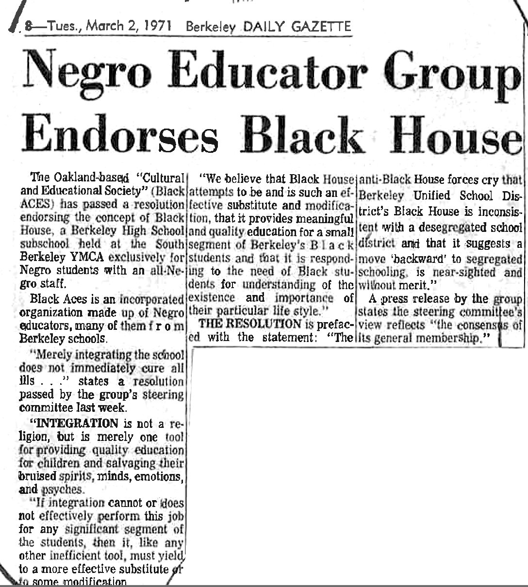Negro Educator Group Endorses Black House