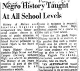 Negro History Taught at All School Levels