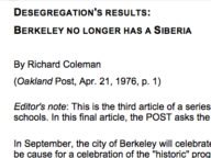 Desegregation's Results: Berkeley No Longer Has a Siberia