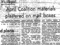 April Coalition Materials Plastered on Mailboxes