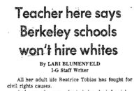 Teacher Here Says Berkeley Schools Won't Hire Whites